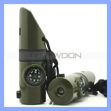 Green 7 in 1 Emergency Survival Plastic Whistle Compass Flashlight Mirror Utility