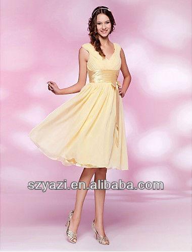 Cheap yellow chiffon short cocktail dress