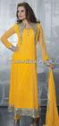 2013 wholesale new design Yellow Full Sleeve Net Long Salwar Kameez ,Muslim Abaya
