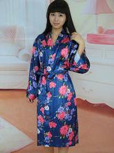Printed Satin Dressing Gowns Long Silk Nightgowns Kimono bathrobe