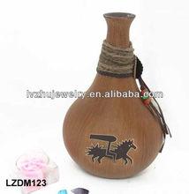 Decorative Native Indian wood Jar LZDM123
