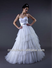 2013 Hot Sale a-line strapless sweetheart neck beaded ruffles taffeta white tulle arabic wedding dress wd280