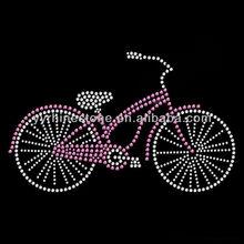 Pink Bicycle Bike Riding Hot Fix Rhinestone Iron On Transfer