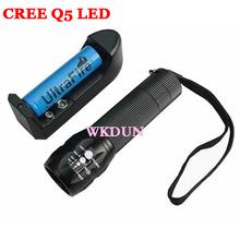 Wholesale Mini Led Torch 7W 280LM Cree Q5 Adjustable Focus Zoom flash Light Lamp Aluminum led flashlight