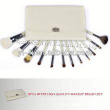 White case 12pcs makeup brush set flat and fat powder brushes