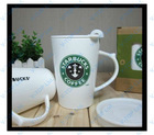new design starbucks ceramic mug with lid