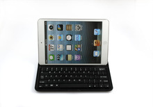 ALUMINUM SHELL BLUETOOTH KEYBOARD SNAP ON CASE STAND FOR APPLE iPAD MINI WHITE