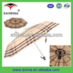 21'' fashion 8 fiberglass&aluminium ribs three folding auto open umbrella for rain