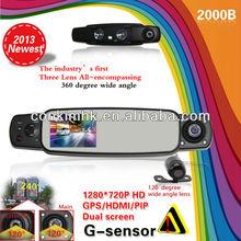 3 Cameras Dash Camera Recorder W/Dual HD720P Len+Extra VGA Rear View Len