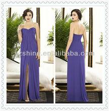 YBD10067 Strapless Sweetheart A-line open front Floor length Pleaetd purple chiffon high low bridesmaid dress 2012