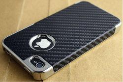 New Frame Carbon Fiber Pattern Chrome Hard Case Cover Skin for Apple iPhone 4 4S