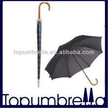 "23"" 8rib curved handle umbrella carved wood handle umbrella"