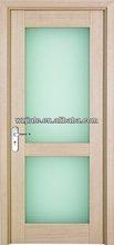 Eco-friendly wood glass door design- frosted glass interior doors- commercial glass entry door