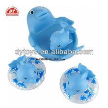custom make vinyl children's squeaky bath toy dolphin family