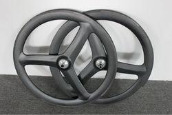 carbon fiber track/road bicycle tri-spoke tubular wheel ,three spoke wheelset