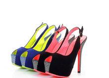 Women's Best Selling Shoes Elegant Snake Line Peep Toe Buckle High Heel Pumps Blue and Black CD13050709