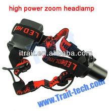 1 Watt Waterproof Flashlight Camping Mini high power zoom headlamp