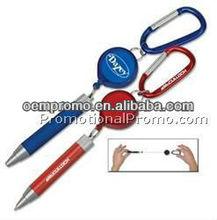 Metal Twist Pen with Carabiner & Retractor
