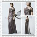 Ymd10008 cap manga strapless um- linha de chão de comprimento tafetá de pregas a mãe da noiva vestidos de renda marrom longo