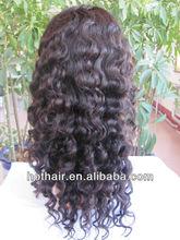fashion full lace human remy hair wigs 20'' #1B deep wave 100% human virgin hair,shipping free from qingdao vendor