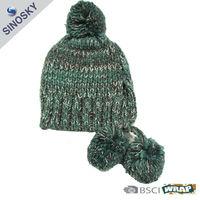 winter 100% acrylic knitted boy pom pom beanie hat