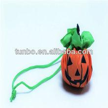 Halloween pumpkin shaped folding shopping bag shopping carrier