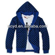 Scottish small grid of thicken hoodie/cardigan men's fleece hoodie