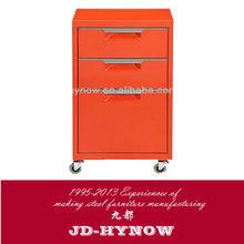Luoyang office furniture 3 drawer steel file cabinet with caster, steel under desk file cabinet