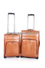 full size lightweight PU travel trolley luggage bag