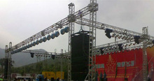 stage truss structure with flying sound system