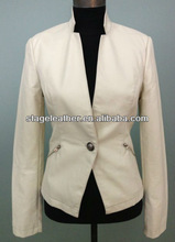 white color pu leather the latest coat styles for women