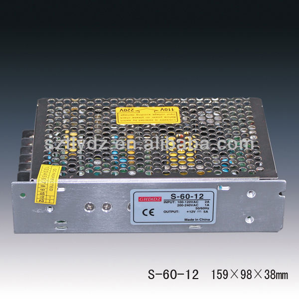adjustable voltage power supply /switch mode power supply 12v 5a 60w