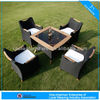 27002 outdoor garden furntiure luxury rattan dining table and chairs with teak wood set