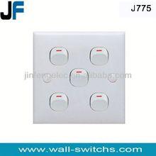 J775 five gang one way switch Pakistan electrical wall plates lighting switch wall plate