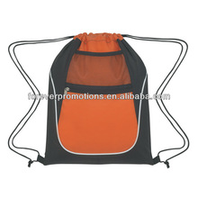 Drawstring Sports Pack With Dual Pockets-Orange