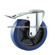 Industrial elastic rubber wheels BZP steel housing bolt hole braked caster