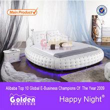 6821# mobilidellacasa bianco rotondo letti queen size con lampada a led