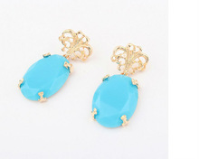 New Design 18 K Gold Plated Sapphire earrings Statement Jewerlry