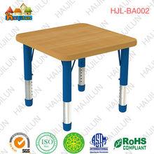 Inexpensive durable Kindergarten Furniture Square wood grain table 4 kids desk
