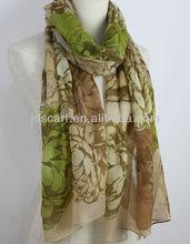 100% spun polyester voile JDYVP-013# Printing scarf 100% voile polyester shawl wholesaler