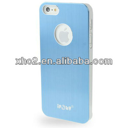 Brushed Metal Aluminum Chrome Hard Plastic Protective Case for iPhone 5 (Blue)