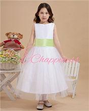 green belt and white flower girl long dress light up western flower girl dresses 2012