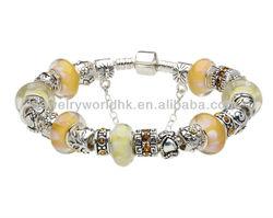 Wholesale European Hot Fashion Style Yellow & Orange Murano Glass Beads Charm Beaded Complete Silver Bracelets for Women Girls J