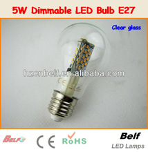 2013 China new innovative product for wholesale 5W brightness control smd warm white glass body E27/E26/B22 LED Bulb light
