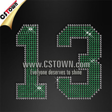 Dots detailed sports number crystal iron on numbers