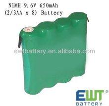 650mah 9.6v nimh rechargeable battery pack