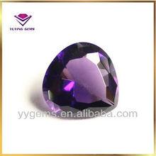 China machine cut pear shape purple glass gems hot sale