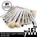 Distribütörü! Gül çiçek davayı 10 adet makyaj makyaj fırçaları fırça bambu