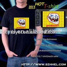 smile face sound activated music t-shirt,led t shirt design/el shirt Online Shopping