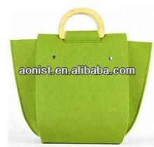 Felt bag Wood handle Green Ladies Bags Fashion Women Bag